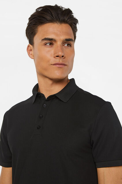 Heren hybrid slim fit polo met coolmax-technologie® Zwart