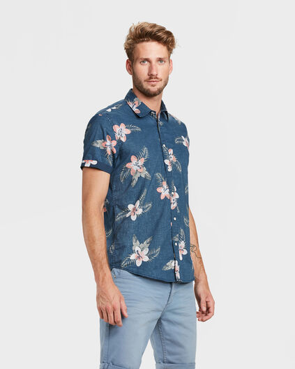 HEREN RELAXED FIT FLOWER PRINT OVERHEMD Marineblauw