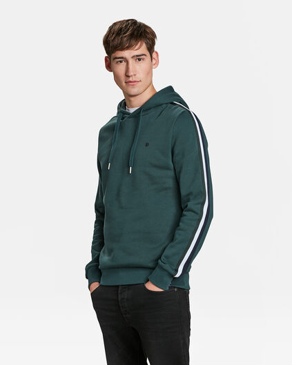 HEREN SIDE STRIPE CAPUCHONSWEATER Groen