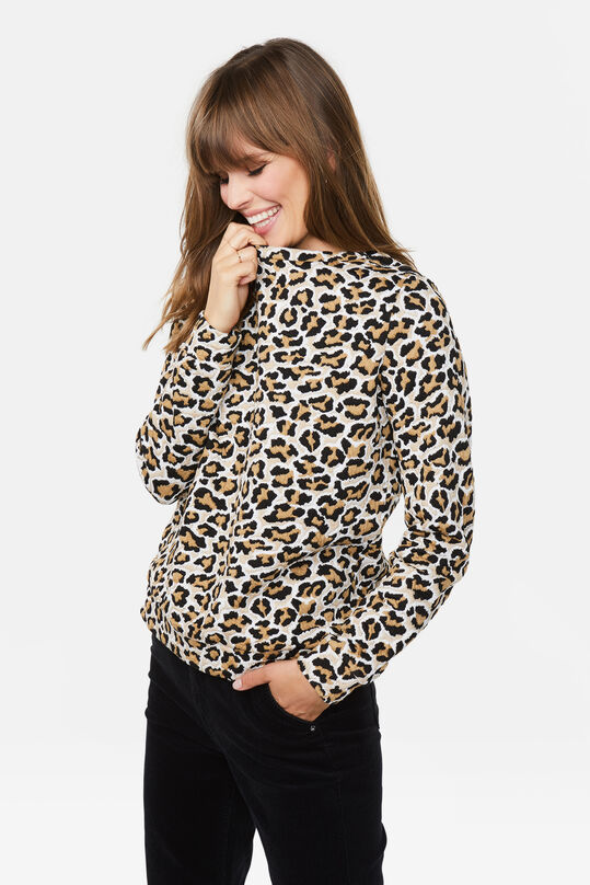 Dames jacquard luipaarddessin sweater All-over print