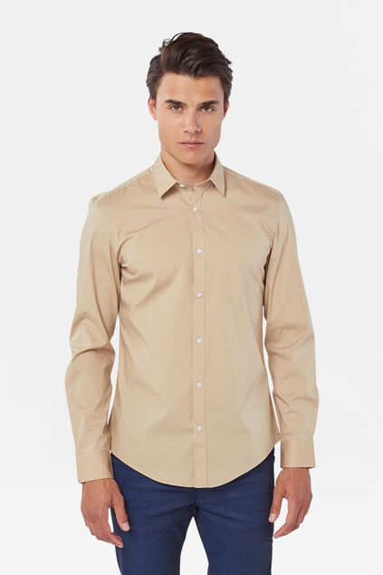 Heren slim fit stretch overhemd Beige