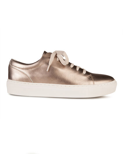 DAMES SOLID REAL LEATHER SNEAKERS Brons