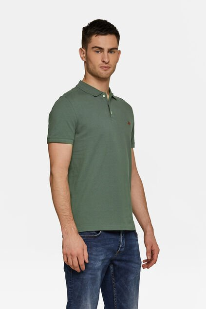 Heren organic cotton pique polo Legergroen