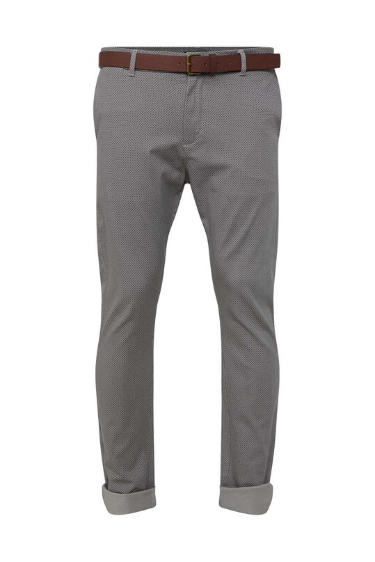 Heren skinny fit chino met dessin All-over print