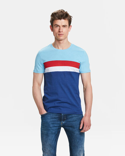 HEREN COLOUR BLOCK T-SHIRT Lichtblauw