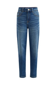 Meisjes high rise mom fit jeans met stretch_Meisjes high rise mom fit jeans met stretch, Blauw