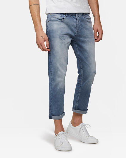 Heren relaxed tapered comfort stretch jeans Grijsblauw