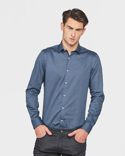 HEREN SLIM FIT ALL-OVER PRINT OVERHEMD Marineblauw