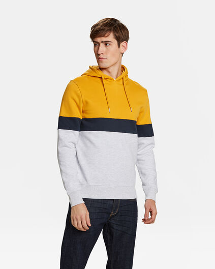 HEREN COLOURBLOCK CAPUCHON SWEATER Geel