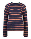 DAMES MOHAIR KNIT STRIPE TRUI, Donkerblauw