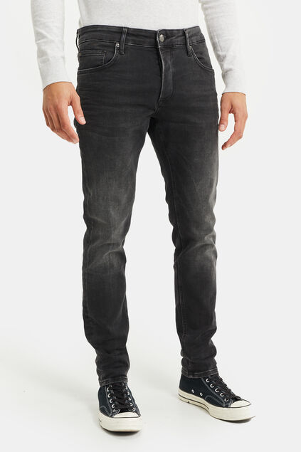 Heren slim fit jog denim jeans Zwart