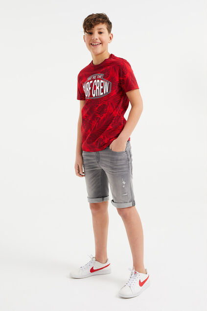 Jongens slim fit denimshort met destroyed details Grijs