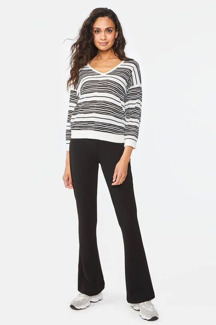 Dames slim fit flared legging Zwart