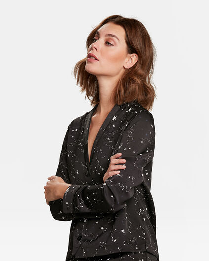 Dames galaxy dessin blouse Zwart