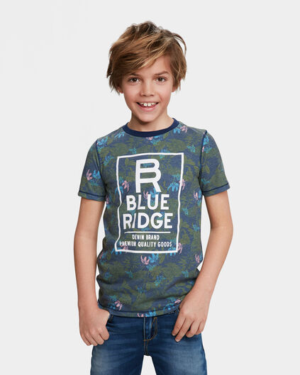 JONGENS BLUE RIDGE FLOWER PRINT T-SHIRT Blauw