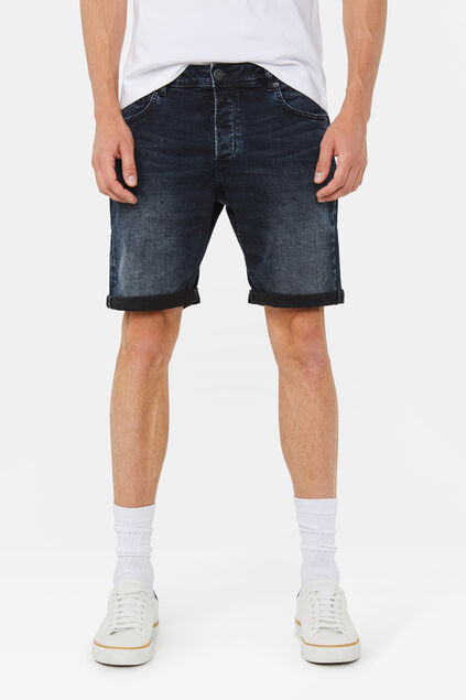 Heren regular fit super stretch denim short Donkerblauw