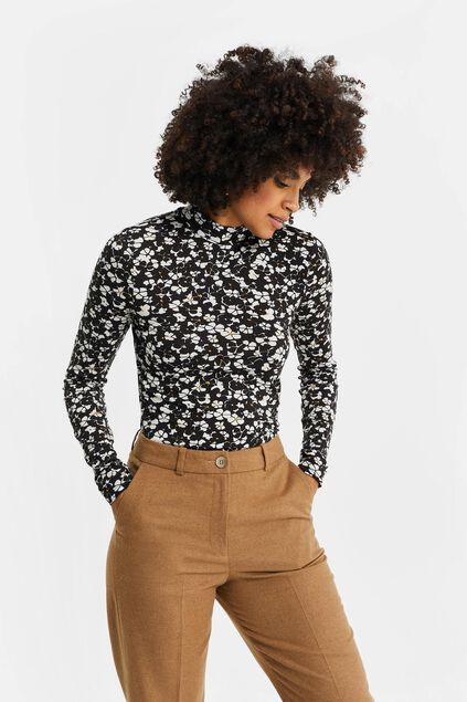 Dames top met col en bloemendessin All-over print