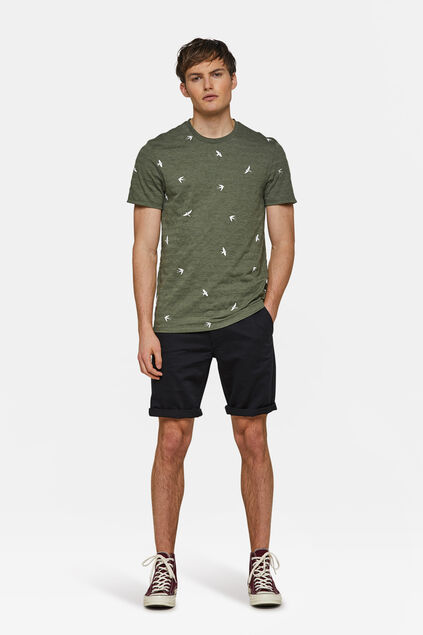 Heren regular fit chino short Zwart