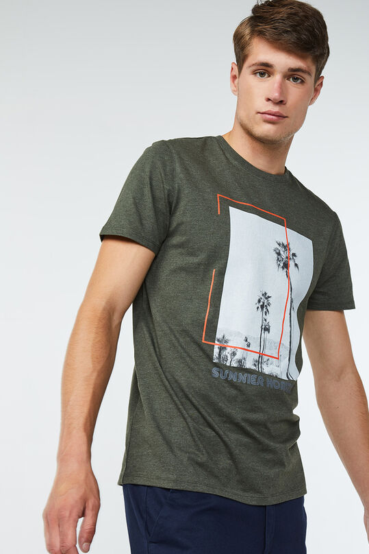 Heren geprint T-shirt Legergroen