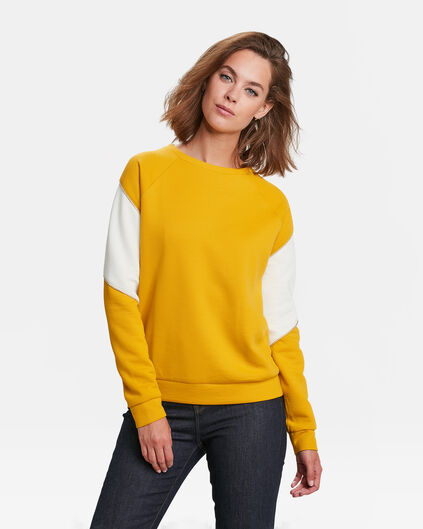 DAMES COLOURBLOCK SWEATER Mosterdgeel