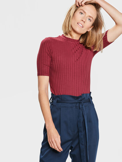 DAMES RIBBED TOP Bordeauxrood