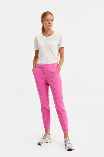 Dames regular fit pantalon met stretch Roze