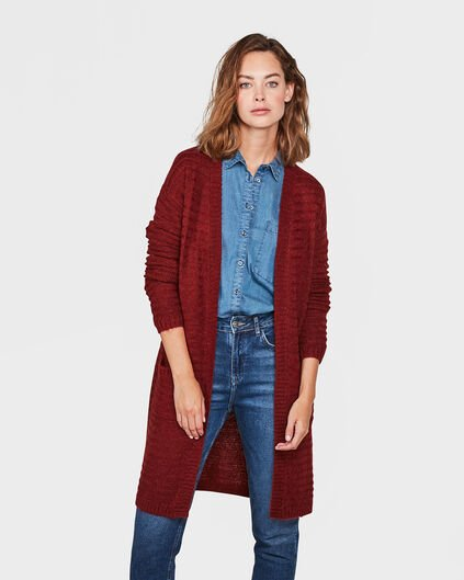 DAMES OPEN FRONT KNIT VEST Roestbruin
