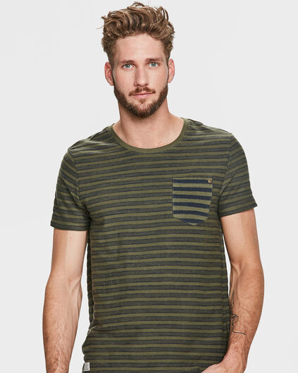 HEREN JAQUARD STRIPE T-SHIRT Legergroen