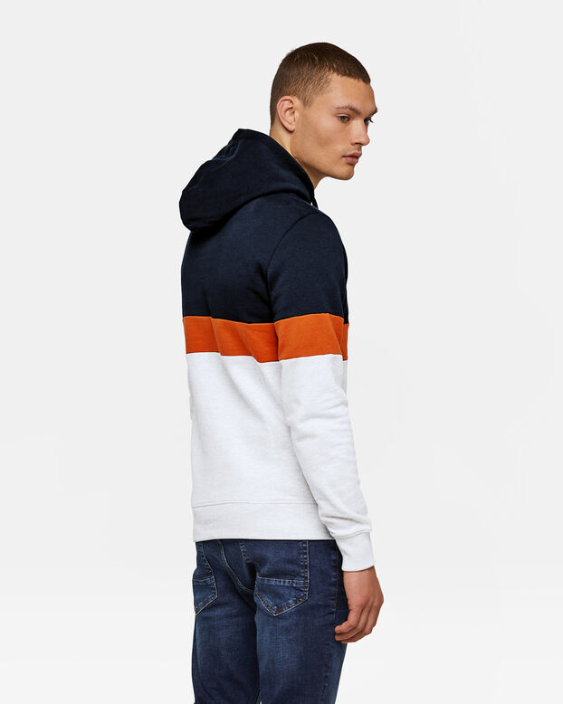 HEREN COLOURBLOCK CAPUCHON SWEATER Oranje