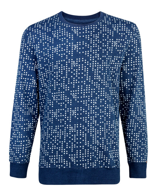 HEREN DOT PRINT SWEATER Blauw