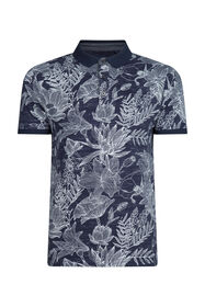 Heren bloemenprint polo_Heren bloemenprint polo, Marineblauw