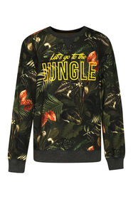 Jongens jungle sweater_Jongens jungle sweater, Donkergroen
