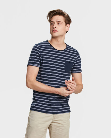 HEREN STRIPE T-SHIRT Marineblauw