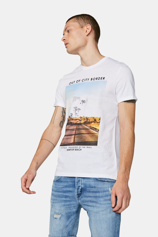 Heren Newport beach print T-shirt Wit