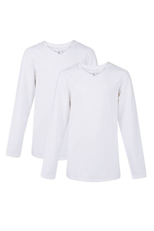 JONGENS V-NECK T-SHIRT, 2-PACK Wit