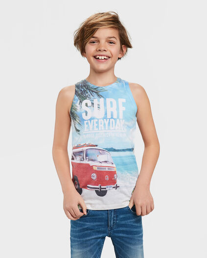 JONGENS SURF EVERYDAY PRINT SINGLET Wit