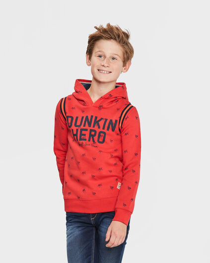 JONGENS HERO HOODED SWEATER Rood