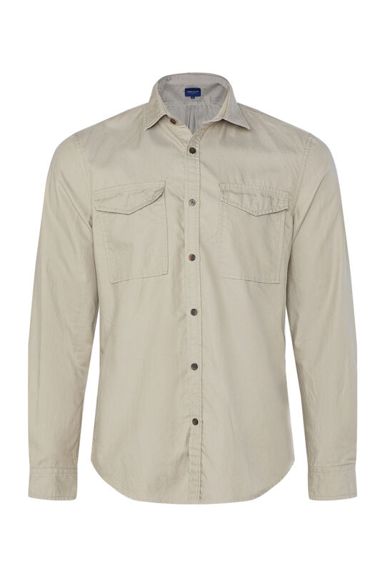 Heren regular fit overhemd Beige