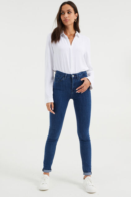 Dames high rise skinny jeans met stretch Donkerblauw