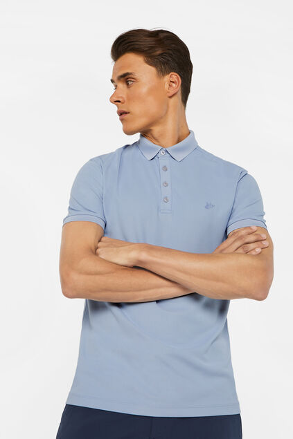 Heren hybrid slim fit polo met coolmax-technologie® Lichtblauw
