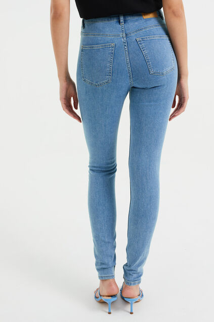 Dames high rise skinny jeans met comfort stretch Lichtblauw