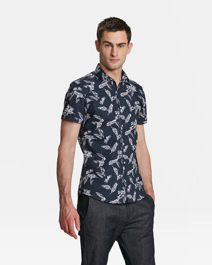 HEREN SLIM FIT PALM PRINT OVERHEMD Marineblauw