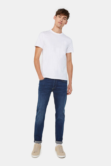 Heren skinny tapered jeans met stretch Donkerblauw