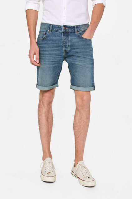 Heren regular fit denimshort Grijsblauw