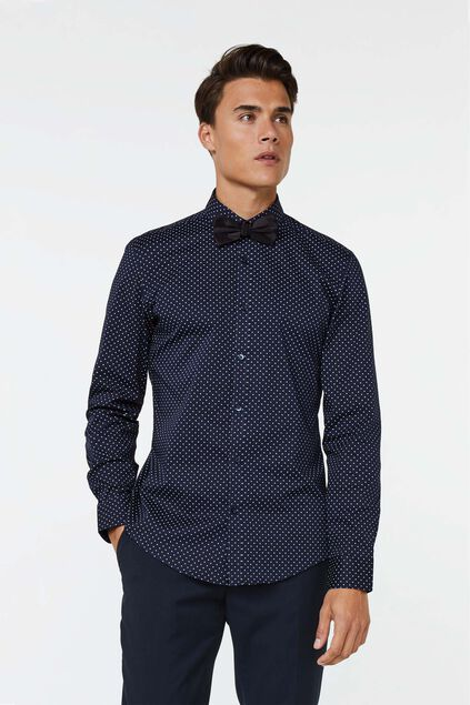 Heren slim fit dessin overhemd met vlinderdas All-over print