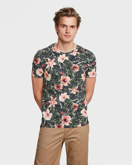 HEREN FLOWER PRINT T-SHIRT Legergroen