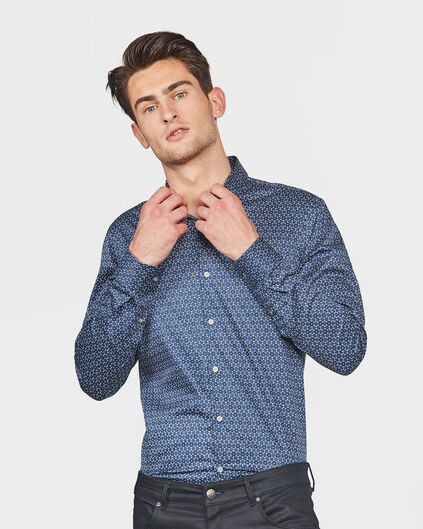 HEREN SLIM FIT GRAPHIC PRINT OVERHEMD Donkerblauw