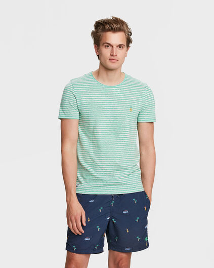 HEREN STRIPE PRINT T-SHIRT Groen