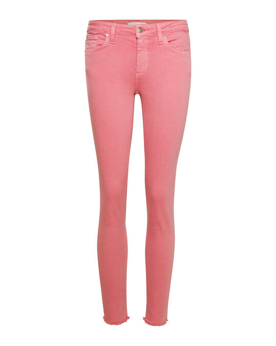 DAMES MID RISE SKINNY HIGH STRETCH CROPPED COLOURED BROEK Roze
