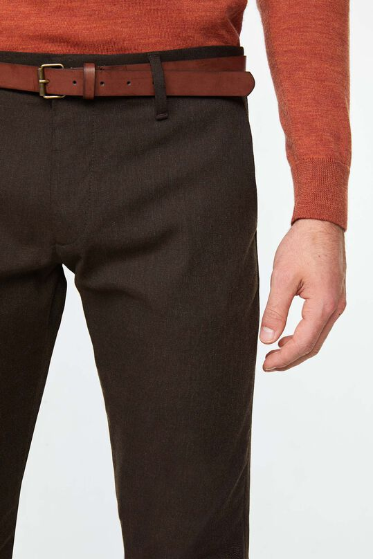 Heren gemêleerde slim tapered chino Bruin